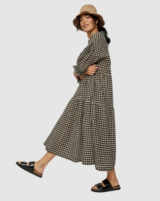 Ceres Life - Ruffle Tiered Dress Dresses (Pebble & Black Check)