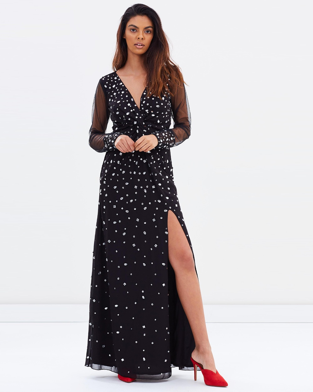 Miss Selfridge Plunge Twist Crystal Maxi Dress Dresses Black Plunge Twist Crystal Maxi Dress