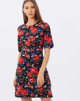 Warehouse – Rose Print Ponte Dress – Dresses (Multi)