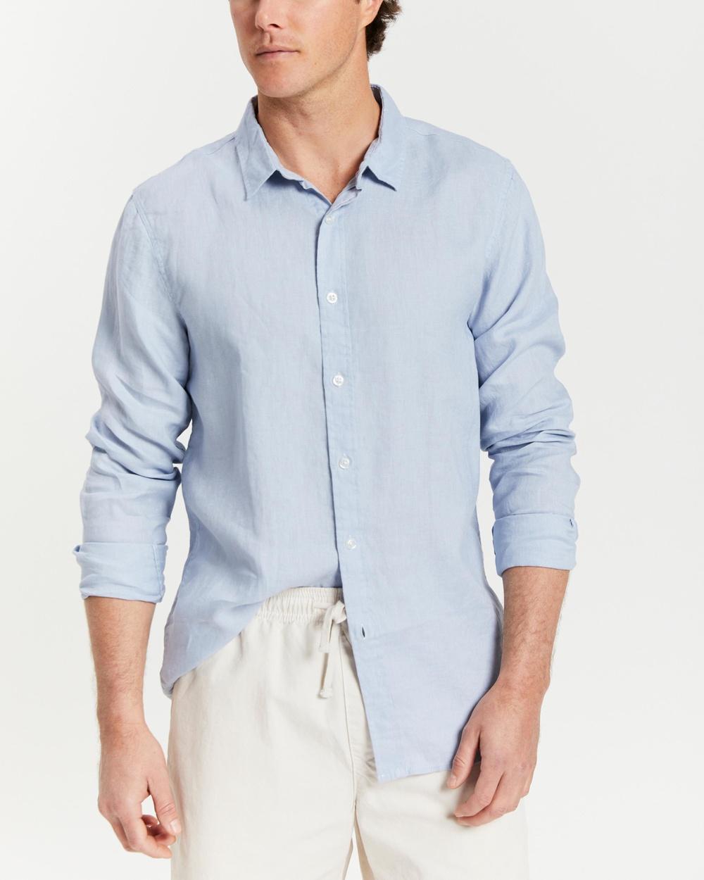 AERE LS Linen Shirt Shirts & Polos Powder Blue