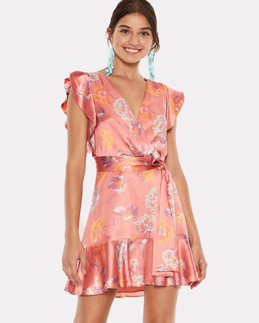 Talulah Clemence Mini Dress Printed Dresses Coral Vintage Floral Clemence Mini Dress