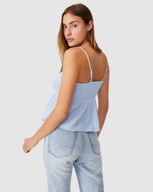 Cotton On Babydoll Shirred Cami - Tops (Powder Blue)