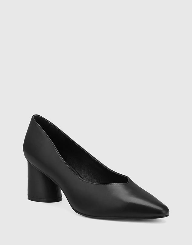Women Destine Leather Flared Heel Pumps