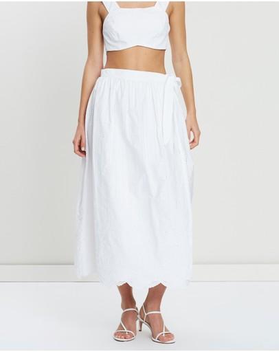 Sir The Label. Delilah Wrap Midi Skirt White