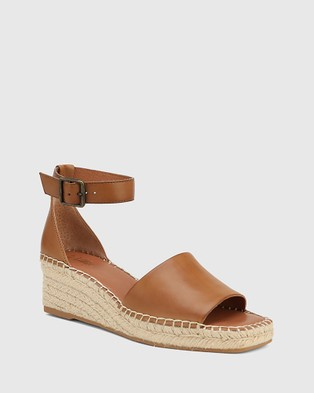 Wittner Krysta Leather Espadrille Wedge Sandals - Wedges (Tan)