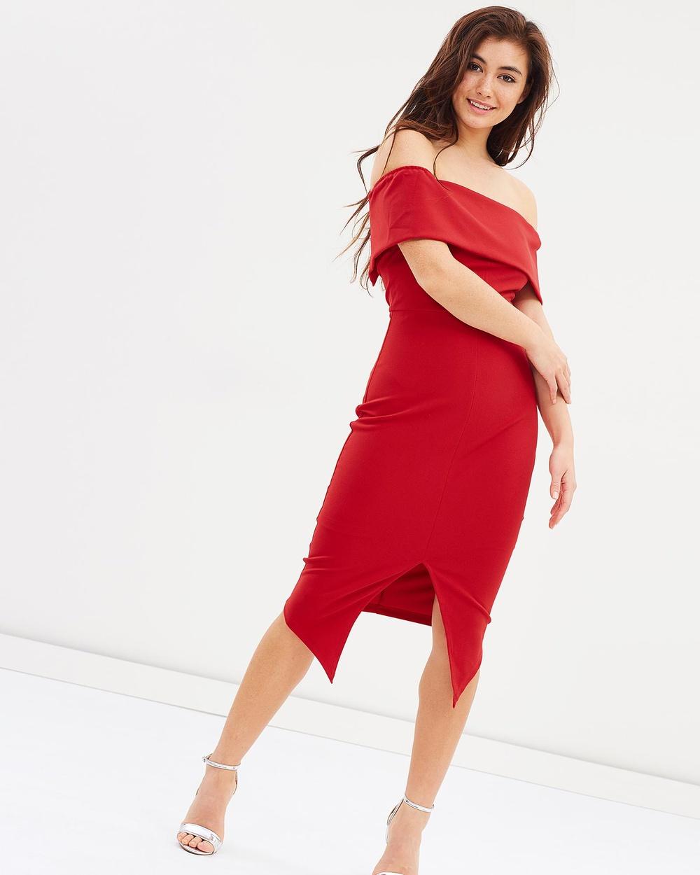 Lumier Red Alvina Off Shoulder Split Midi Dress