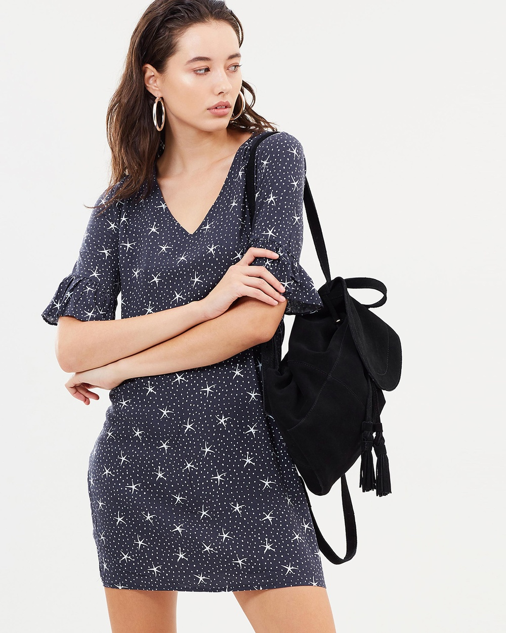 Dazie Starry Night Frill Dress Printed Dresses Navy Base Star Starry Night Frill Dress