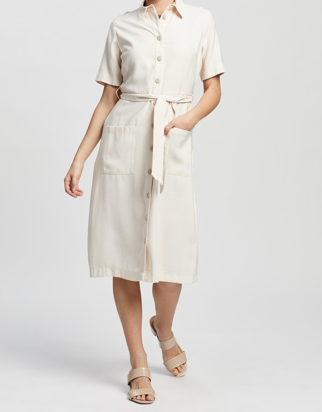 DP Petite - Twill Shirt Dress