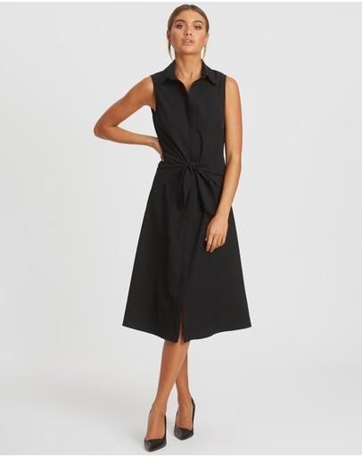 Reux Somali Tie Midi Dress Black