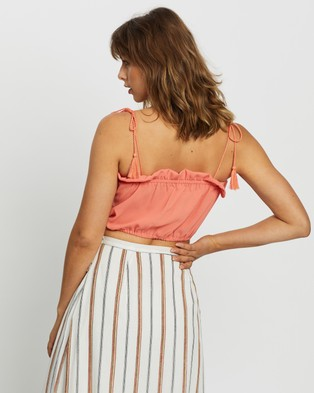 Glamorous Tie Up Ladies Top - Cropped tops (Orange)