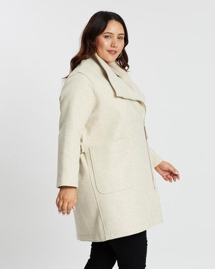 Atmos&Here Curvy Wool Blend Coat - Coats & Jackets (Cream)