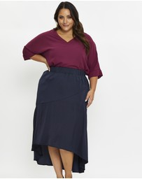 You & All - Plus Silky Asymmetrical Seam Detail A-Line Skirt