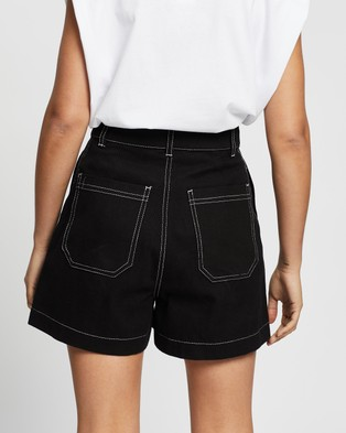 AERE Organic Cotton Overstitch Shorts Denim Black