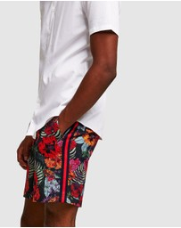 Topman - Floral Printed Shorts With Side Taping