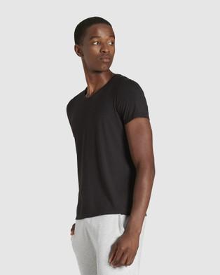 Boody Organic Bamboo Eco Wear - 4 Pack V Neck T Shirt - Short Sleeve T-Shirts (Black) 4 Pack V-Neck T-Shirt