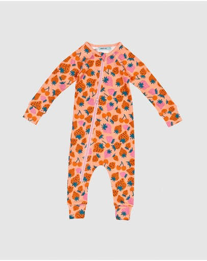 Goldie & Ace - Strawberry Patch Print Zipsuit - Babies