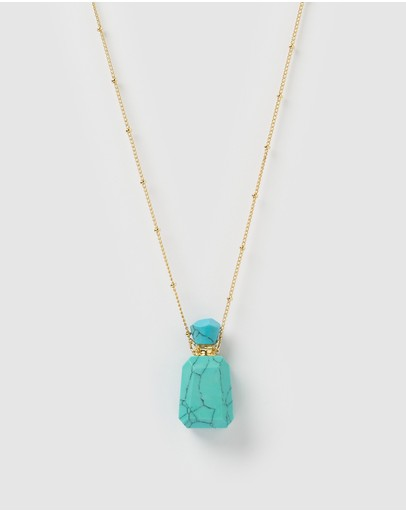 Miz Casa And Co Wonderstruck Necklace Turquoise Gold