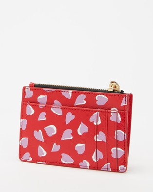 The Marc Jacobs The Snapshot Printed Hearts Top Zip Multi Wallet - Wallets (Geranium Pink Multi)