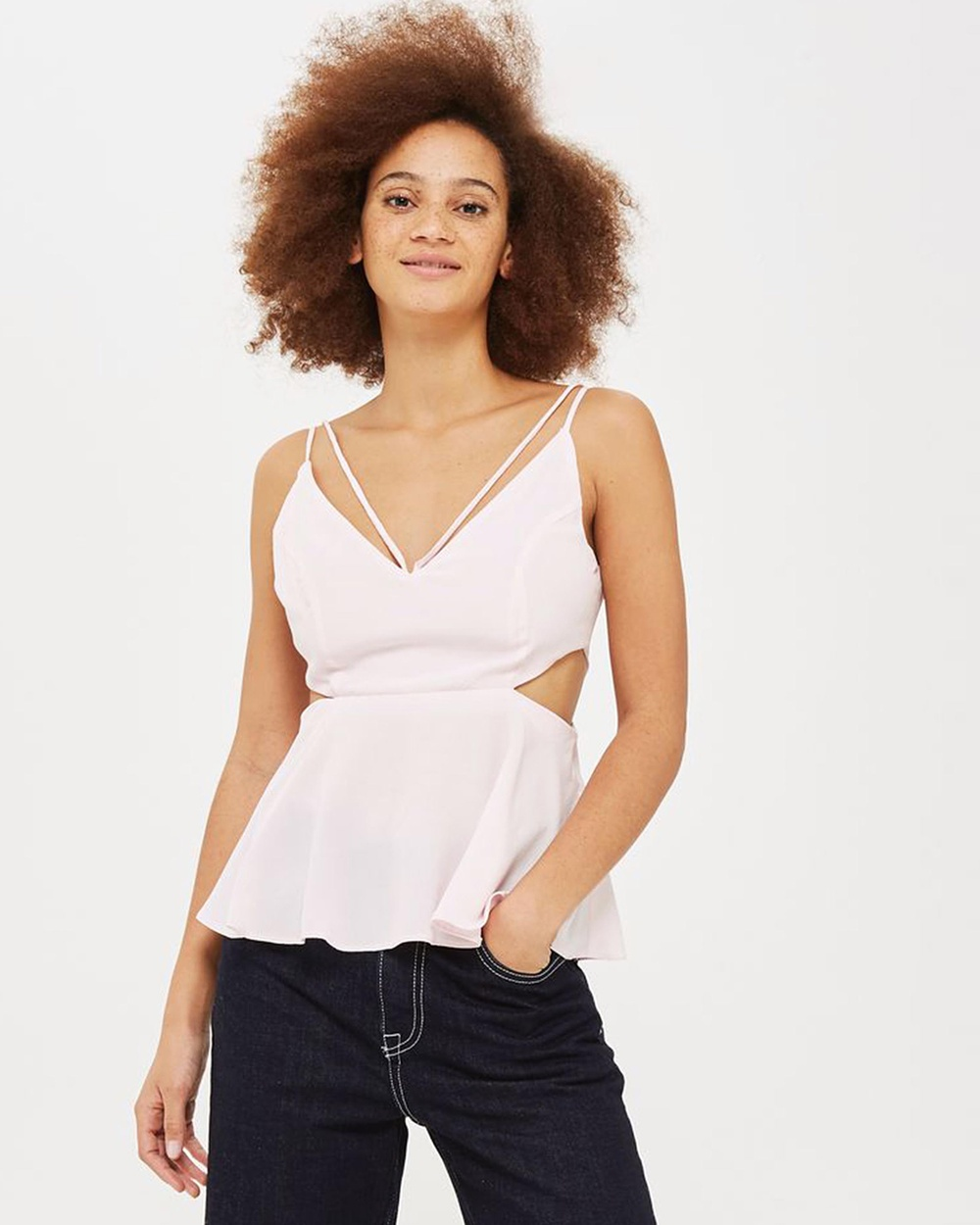 TOPSHOP Cut Out Cami Tops Pale Pink Cut-Out Cami