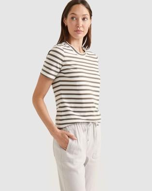 Sportscraft The Perfect Organic Cotton Tee - T-Shirts & Singlets (Khaki & White)