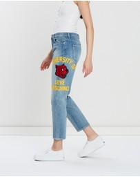 LOVE MOSCHINO - Denim Jeans with Tiger Decoration