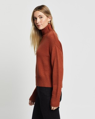 Third Form Lift Up Knit Turtleneck - Jumpers & Cardigans (Rust)