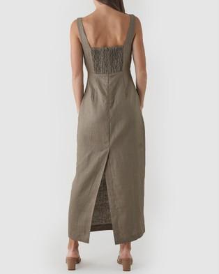 Amelius Silas Linen Midi Dress - Dresses (Khaki)