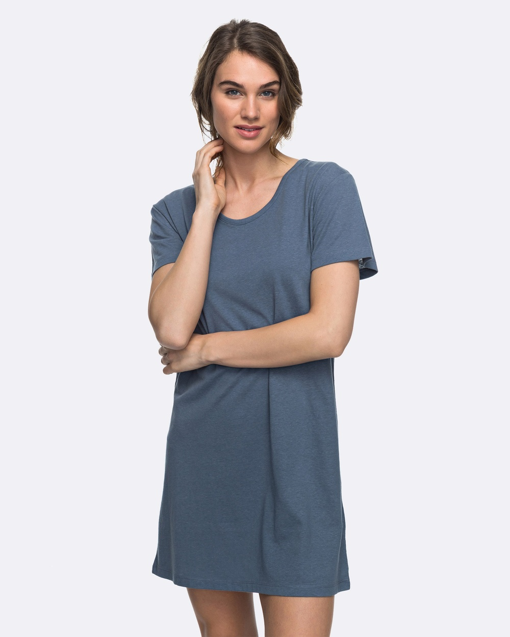 Roxy Womens Just Simple Solid T Shirt Dress Swimwear CHINA BLUE Womens Just Simple Solid T Shirt Dress