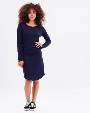 Tee Ink – Long Sleeve Tee Dress – Dresses (Navy)