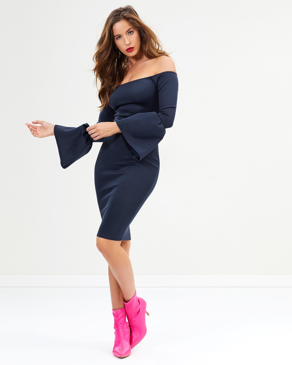 Missguided Flared Sleeve Midi Dress Bodycon Dresses Navy Flared Sleeve Midi Dress