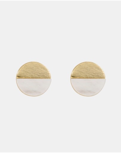 Short Story Circle Sterling Ocean And Stone Earrings Gold