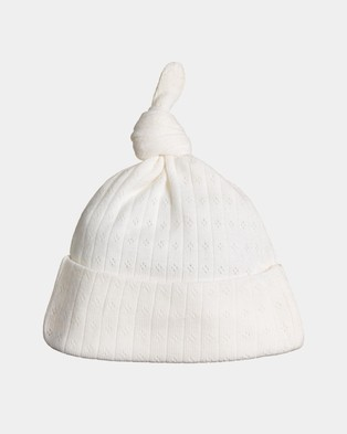 Nature Baby Knotted Pointelle Beanie - Headwear (Natural)