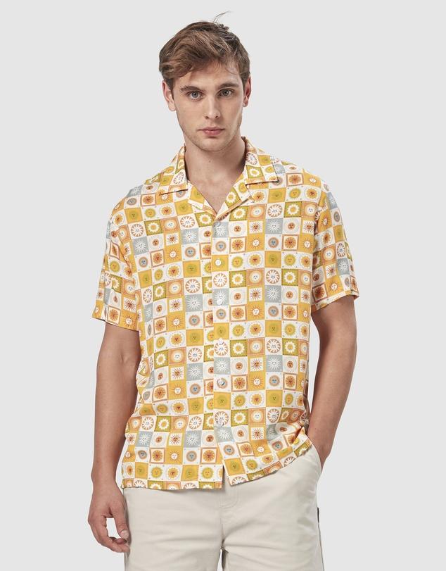 1960s Mens Shirts | 60s Mod Shirts, Hippie Shirts Sunny Daze Camp Collar Shirt AUD 89.95 AT vintagedancer.com