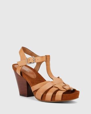 Wittner Carlino T Bar Block Heels - Sandals (Tan)