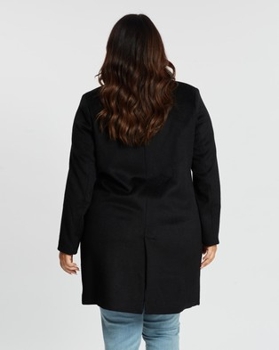 Atmos&Here Curvy Vivian Wool Blend Coat - Coats & Jackets (Black)
