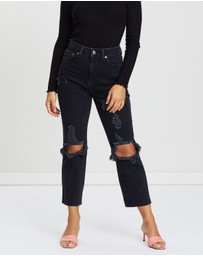 TOPSHOP Petite - Ripped Straight Jeans