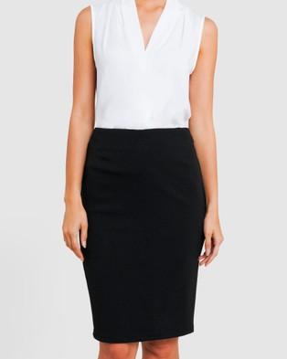 Forcast Joslyn Textured Pencil Skirt - Pencil skirts (Black)
