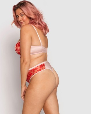 Bras N Things Enchanted Chloe High Waisted V String Knicker - Lingerie (Red/Light Pink)