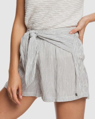 Roxy Womens Nevada Road Striped Wrap Front Shorts - Shorts (MOOD INDIGO DOTTED L)