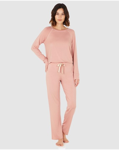 Boody Organic Bamboo Eco Wear - Goodnight Sleep Set - Raglan Top and Pants - Dusty Pink