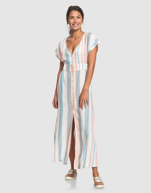 Roxy - Womens Furore Lagoon Button Striped Maxi Dress