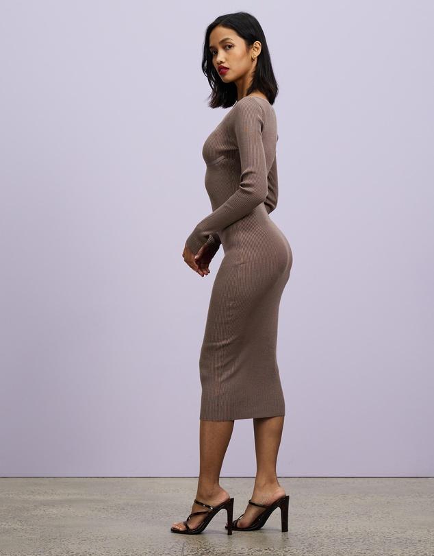 Women Rib Knit Bust Sweetheart Midaxi Dress