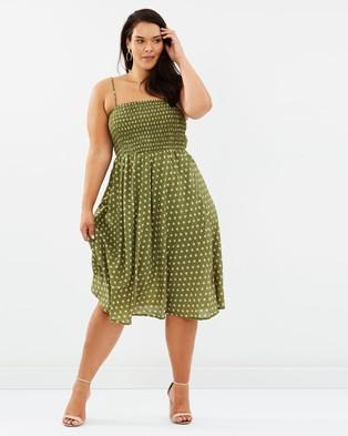 Atmos & Here Curvy – Maple Midi Dress – Printed Dresses Sage Polka Dot