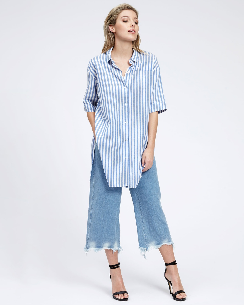 MVN Step In Cross Back Shirt Tops Blue Stripe Step In Cross Back Shirt