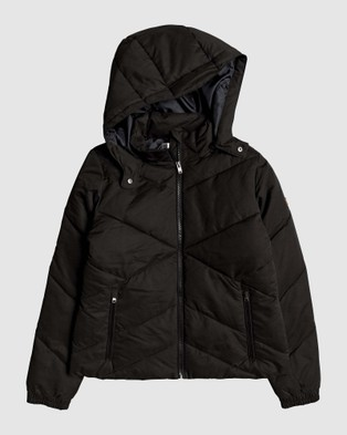 Roxy Womens No Goodbyes Hooded Puffer Jacket - Coats & Jackets (Anthracite)