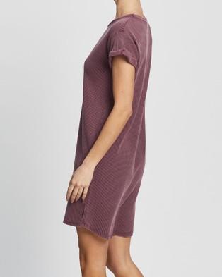 Silent Theory Waffle Tee Dress - Dresses (BURGANDY)