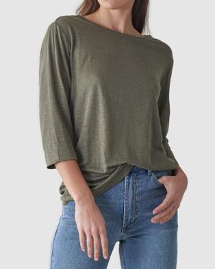Amelius Bronte Linen T Shirt - T-Shirts & Singlets (Khaki)