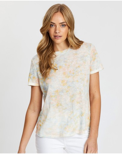 Jag Ava Printed Linen Tee Marble