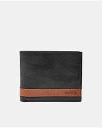 Fossil - Quinn Black Large Coin Pocket Bifold Wallet