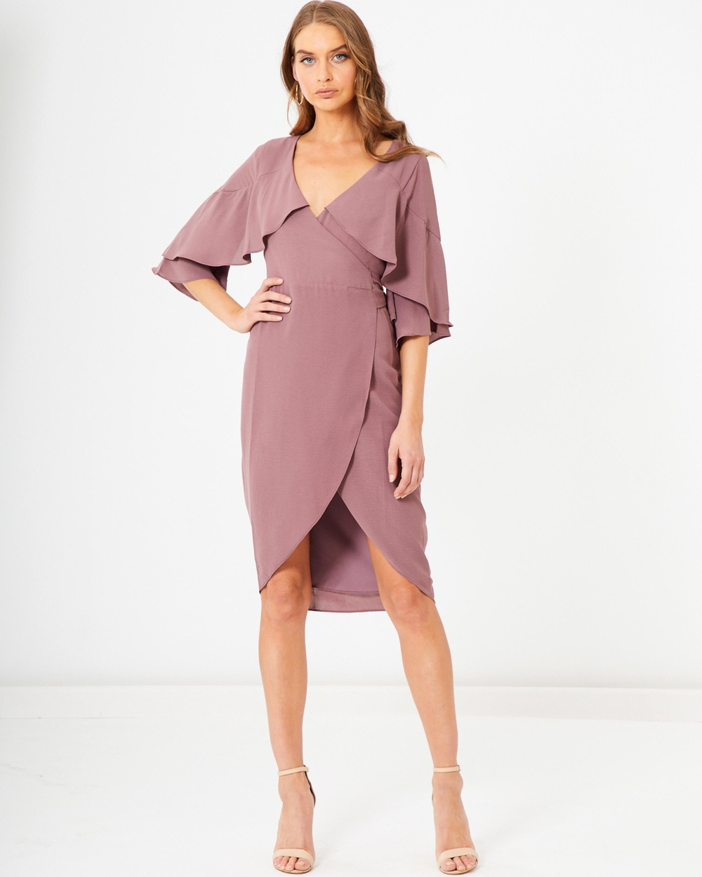Photo of Tussah Taupe Ripley Frill Dress - buy Tussah dresses on sale online